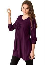 Plus Size Soft knit tunic top has topstitched front yoke, 3/4 sleeves