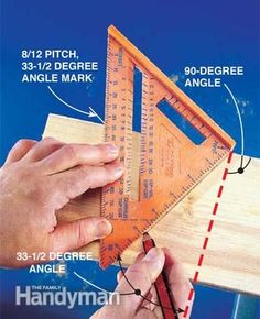 Using a speed square to mark a 33-1/2 degree angle.