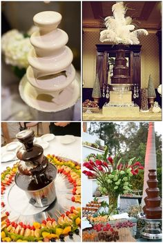 Fuentes de chocolate en las mesas de dulces | Chocolate fountains for your wedding dessert tables!