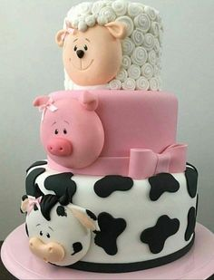 Baby Shower Cake this multi tiered cake is so cute and perfect for so many occasions, it has a co… Baby Cakes, Cow Cakes, Baby Shower Cakes, Cake For Baby, Bolo Fondant, Fondant Cakes, Cupcake Cakes, Pig Cupcakes, Fondant Cake Designs