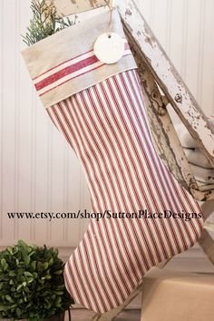 Pottery Barn Red Ticking Christmas Stocking from Sutton Place Designs on Etsy
