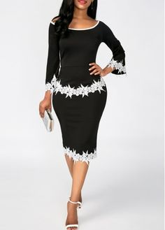 Black Scoop Neck Lace Panel Sheath Dress