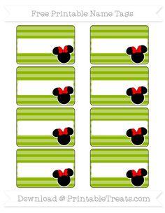 Free Apple Green Horizontal Striped  Minnie Mouse Name Tags