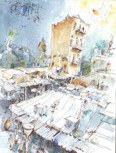 Art And Illustration, Art Illustrations, Watercolor Artists, Watercolor Sketch, Old Jaffa, Artwork Online, Coastal Art, Urban Sketching, Art Tutorials