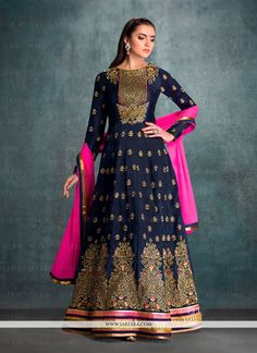 Be your own style icon with navy blue georgette anarkali salwar kameez. This attire is encrafted with embroidered and patch border work. Comes with matching bottom and dupatta. (Slight variation in co...