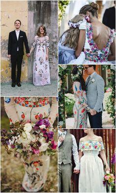 Vestidos de novia con bordados llenos de color/ Colourful embroidered wedding dresses