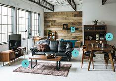 インパクトがあるブラックレザーのソファーをウォールナットでバランスよくまとめたお部屋家具・インテリア通販のNOCE