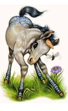 Baby Unicorn ~ By Robin James Loved these books when I was a kid Unicorn Fantasy, Unicorn Art, Fantasy Art, Magical Creatures, Fantasy Creatures, Horse Drawings, Cute Drawings, Robin James, Baby Animals
