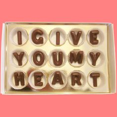 I Give You My Heart Large Milk Chocolate Letters by chocolatesays, $24.99