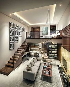 Small Homes That Use Lofts To Gain More Floor Space Loft living by the Urbanist Lab Small Living Rooms, Home And Living, Living Spaces, Family Rooms, Tiny Living, Modern Interior Design, Interior Architecture, Interior Ideas, Luxury Interior