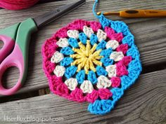 Fiber Flux...Adventures in Stitching: How To Crochet A Granny Hexagon