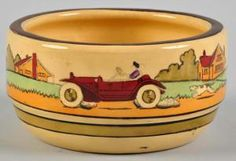 Peruse this slideshow to help you identify and value your Roseville Pottery pieces. Includes popular, more common patterns along with rarities.: Roseville Tourist Pattern Bowl