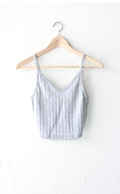 Knit Ribbed V-neck Crop Top - Heather Grey from NYCT