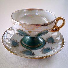Pearl Iridescent Regency Pattern Vintage Teacup and Saucer