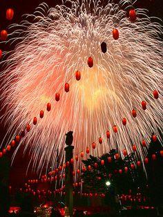fireworks at Yabu hometown summer Festival, Yabu, Hyogo, Japan