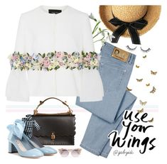 """""""Petals!"""" by gabyidc ❤ liked on Polyvore featuring D&G, Fendi, Georges Hobeika, Miu Miu and Jimmy Choo"""