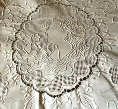 Early 1900 Edwardian Figural Linen Bed Sheet