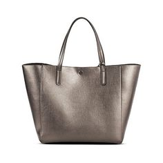 Women's Reversible Tote with Removable Pouch Pewter ($37) ❤ liked on Polyvore featuring bags, handbags, tote bags, silver, tote hand bags, purse pouch, brown tote purse, purse tote and handbags purses