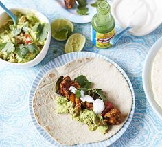 Get the kids in the kitchen to prepare this easy BBQ chicken recipe, then assemble together with creamy guacamole on tortilla wraps Easy Bbq Chicken, Chicken Fajitas, Chicken Skewers, Bbc Good Food Recipes, Healthy Recipes, Savoury Recipes, Healthy Dishes, Grilling Recipes, Cooking Recipes