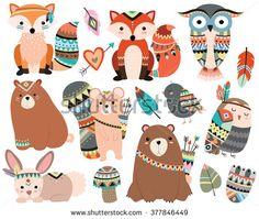 Woodland Tribal Animals Cute Forest and Nature Design Elements Vector Nesta página em http://publicidademarketing.com/bancos-de-imagens/ recomendamos apenas #bancosdeimagens com serviços e opções de alta qualidade que são devidamente enquadradas nas leis em vigor.