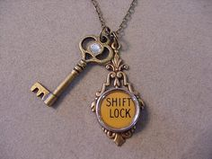 Typewriter key Jewelry Necklace Shift LOCK & KEY Typewriter Key Necklace and Antiqued Brass Skeleton Key Necklace by magiccloset on Etsy