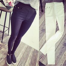 2015 New Fashion Womens Spring Autumn Casual Skinny Jeans Leggings Woven Slim High Elastic Denim Pencil Pants Pocket For Women(China (Mainland))