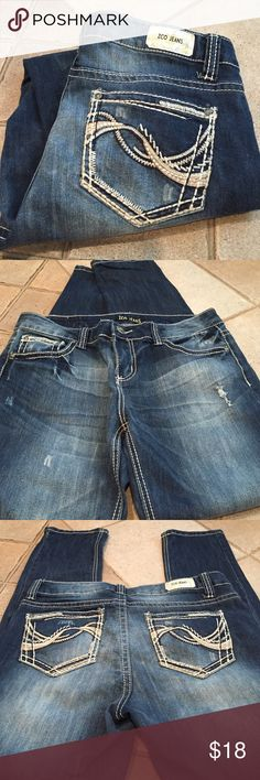 "ZCO Jeans 72% cotton 26% polyester 2% spandex  length is 40"" inseam is 30""  rise is 9""  waist is 17""  bottom leg opening is 6"" ZCO Jeans"