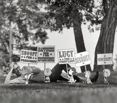 Snoopy for President: 1968  Charles Schulz with cutouts of Peanuts characters http://www.shorpy.com/node/20711 Douglas Jones