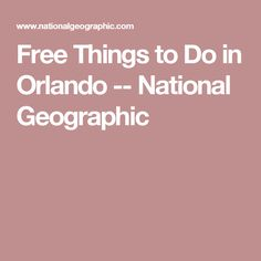 Free Things to Do in Orlando -- National Geographic
