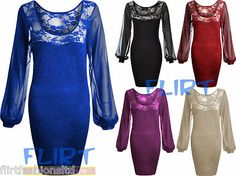 Womens Lace Floral Dress Ladies Chiffon Sleeve Sexy Top Bodycon Party Dresses