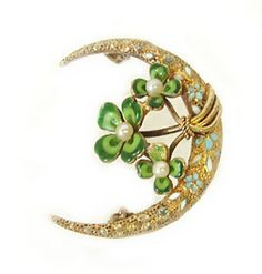 Early Krementz 14K Gold Enamel Clover Crescent Pin