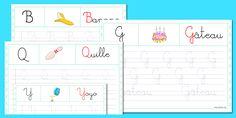 Apprendre à écrire - Atelier écriture   Tracer les lettres cursives - l'alphabet en maternelle