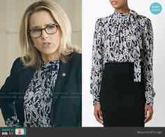 Elizabeth's black and white floral tie-neck blouse on Madam Secretary.  Outfit Details: http://wornontv.net/52934/ #MadamSecretary