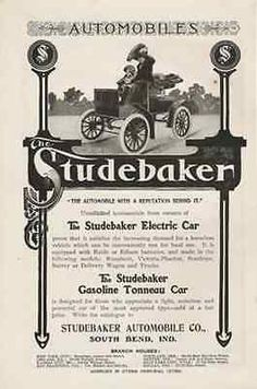 "paperink id: ads6519 Studebaker Electric Car 1904 AD Gasoline Tonneau Automobile Horseless Vehicle ORIGINAL PERIOD Magazine Advertisement AD measuring approximately 6.5"" x 9.5"" AD is in Very Good Cond"