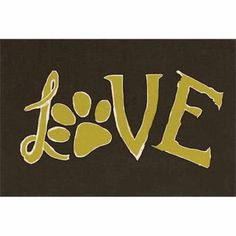 Love Hand Drawn Paw Print Pet Typography Brown & Green Canvas Art by Pied Piper Creative