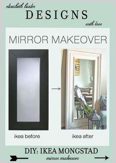 DIY Floor Mirror Ikea Hack using the Mongstad and inspired by Restoration Hardware St James Trim molding at a fraction of the price! http://elizabethbixler.com/diy-ikea-hack-mongstad-mirror-makeover/