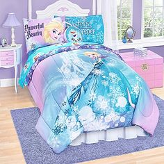 Turn your little Frozen fan's bedroom into a winter wonderland with this Disney Frozen Elsa Reversible Comforter Set. This soft, easy care microfiber comforter is decorated with Elsa and an ice castle in a dazzling winter setting.