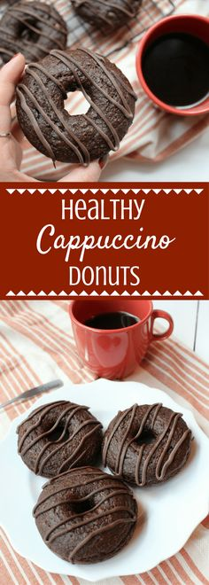 Healthy Cappuccino Donuts are a great breakfast or dessert. Enjoy all the rich, smooth flavors of your favorite cappuccino drink in these healthy donuts. Protein Donuts, Healthy Donuts, Healthy Desserts, Healthy Drinks, Healthy Bars, Healthy Recipes, Delicious Recipes, Free Recipes, Keto Recipes