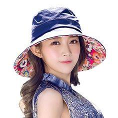 b3f96551c0d Siggi Womens Cotton Bucket Boonie Sun Hat Summer Cap Foldable Wide Brim UV  SPF 50 Navy