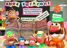 I found this adorable potato head family at a local second-hand store for a mere $6, including the giant Mr. Potato Head (on the right) that they were all stored inside.  I love it when I find fun props for library displays at such a great price.   The kids love stopping by the display to rearrange them!  I'm a huge advocate of library displays (bet you couldn't tell), but I also believe in keeping a tight budget, so checking out local yard sales and second-hand stores is a great way to find…