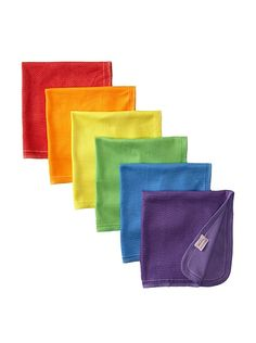 Petites Frites Six Burp Cloth Set, Rainbow at MYHABIT