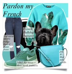 """""""Pardon my French"""" by martso ❤ liked on Polyvore featuring Deborah Lippmann, WallPops, Topshop, NIKE, JAY. M, fashionset and frenchbulldog"""