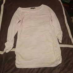 Ruched sweater Cream color animal print sweater with ruched sides and sleeves. Slight pilling on the back HeartSoul Sweaters Crew & Scoop Necks