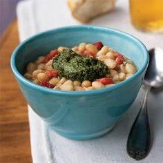 White Beans with Roasted Red Pepper and Pesto | MyRecipes.com