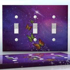 DIY Do It Yourself Home Decor - Easy to apply wall plate wraps   Butterfly Nebula Purple space with sparkles and butterflies wallplate skin sticker for 3 Gang Toggle LightSwitch   On SALE now only $5.95