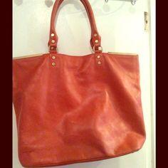 Orange large leather hand bag Never used big orange leather hand babe beautiful detail . Kenneth Cole Bags
