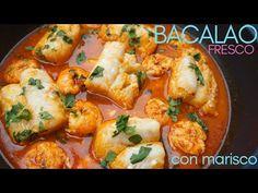 BACALAO 🐟fresco con 🦐 MARISCO (langostinos, gambas o gambones), Listo en 30 minutos. - YouTube Best Salmon Patties, Portuguese Recipes, Budget Meals, Shrimp, Tortilla, Fish, Meat, Fresco, Youtube