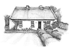 Tí Lal, Spiddal, Co. Galway Ink Drawings, Limited Edition Prints, Fine Art Prints, Cottage, Traditional, The Originals, House Styles, Antiques, Artist