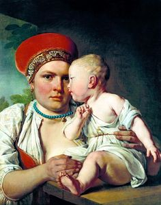 Venetsianov Alexei - Nurse with child. 900 Classic russian paintings