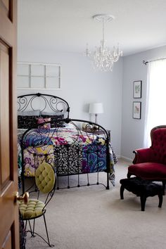 love everything about this bedroom redo *so many pretty details* click on link to see them all. LOVE that bedspread from Urban Outfitters.